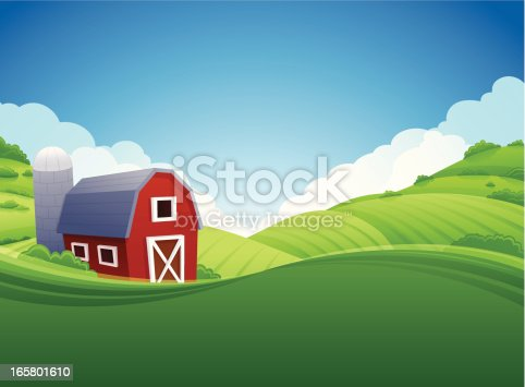 Red barn farm background. Very detailed background with copy space.
