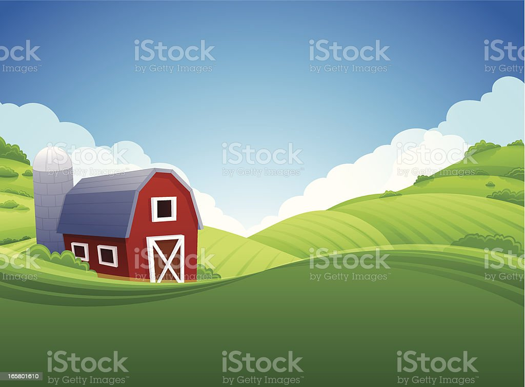 Farm Background vector art illustration
