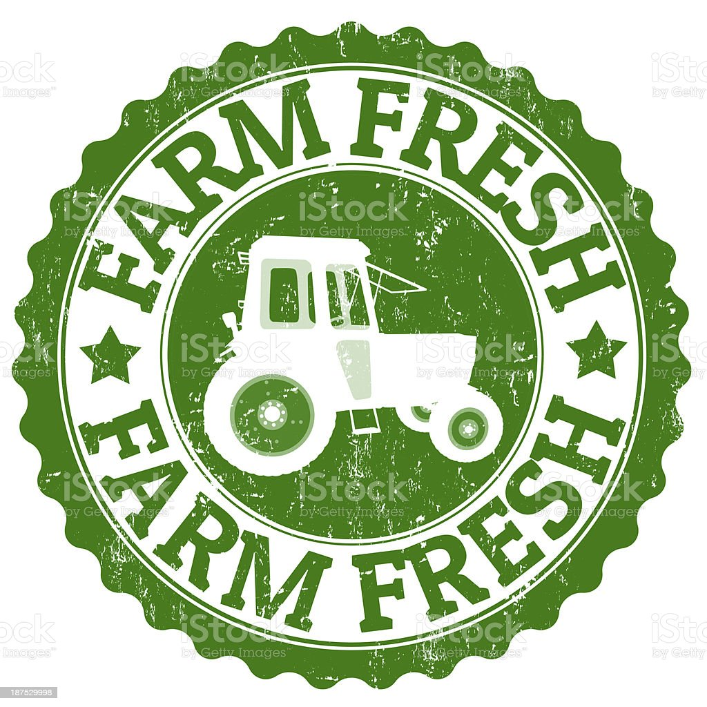 Farm Fresh stamp vector art illustration