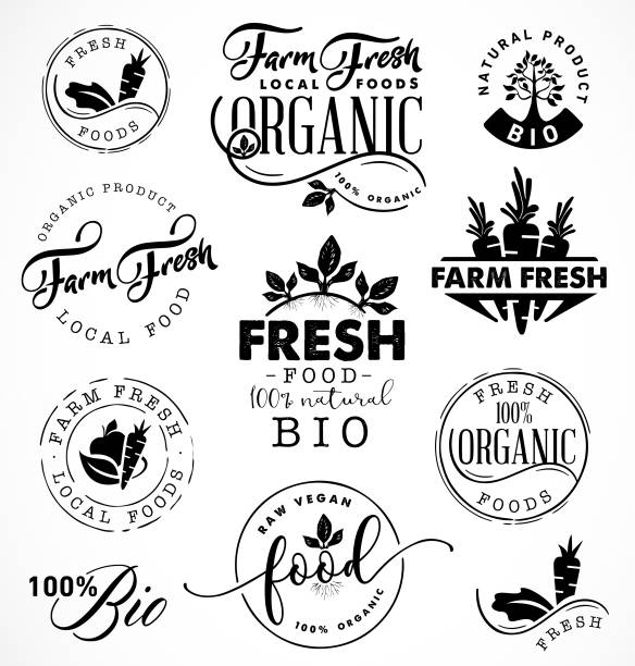 farm fresh,organic and bio food labels and badges in vintage style - paleo diet stock illustrations, clip art, cartoons, & icons
