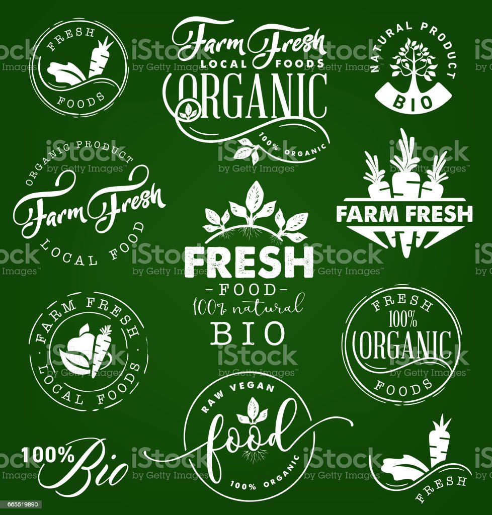 Farm Fresh,Organic and BIO Food Labels and Badges in Vintage Style vector art illustration