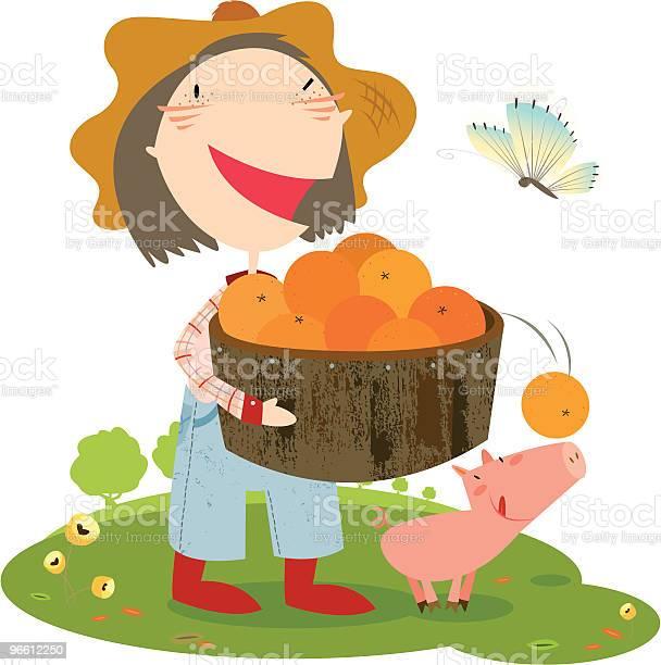 Ферма Girl — стоковая векторная графика и другие изображения на тему Апельсин