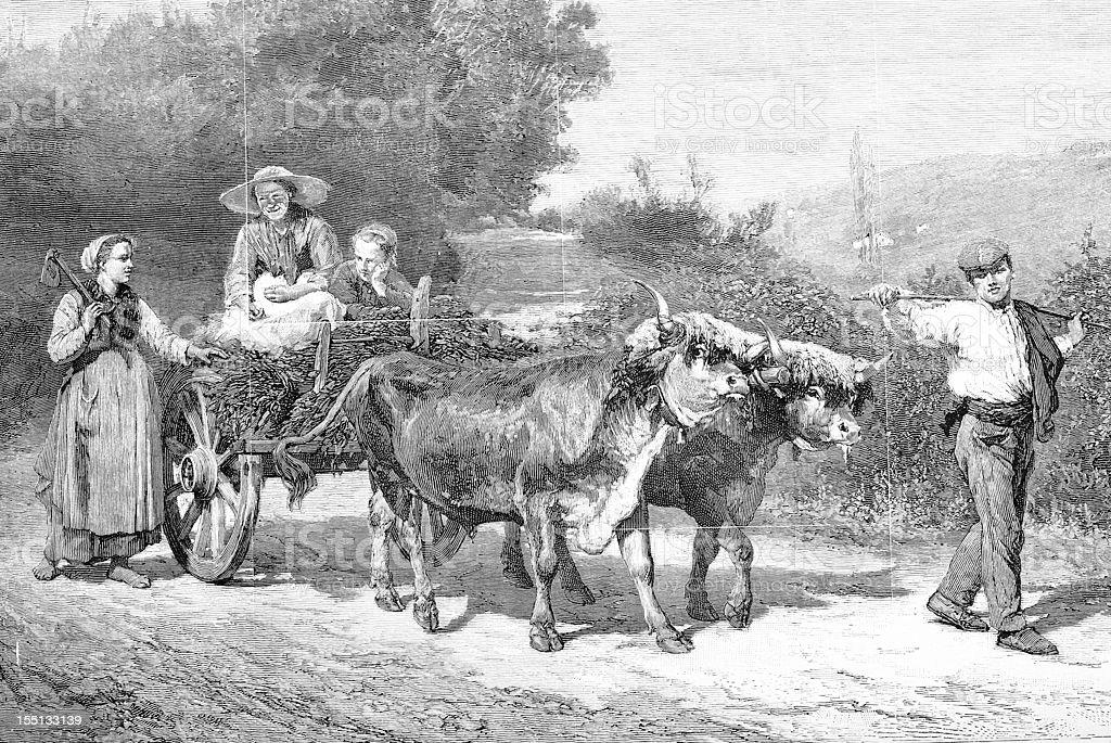 Farm workers vector art illustration