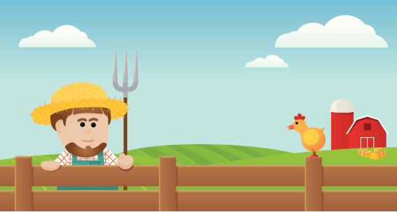 Farmer and chicken