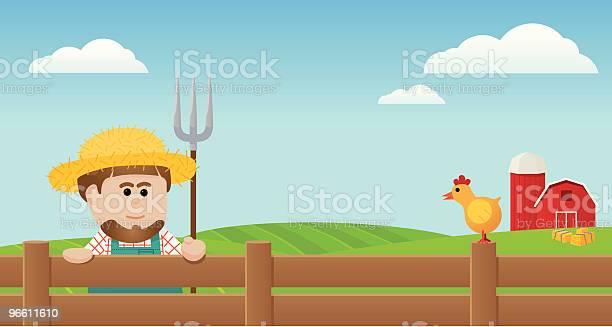 Farmer And Chicken-vektorgrafik och fler bilder på Amish