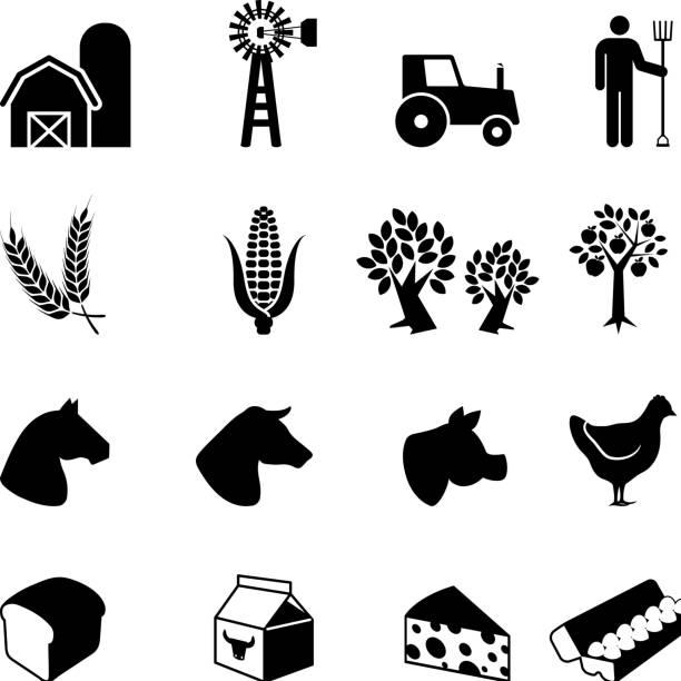 landwirt arbeiten schwarz und weiß, vektor icon-set - dinkelbrot stock-grafiken, -clipart, -cartoons und -symbole