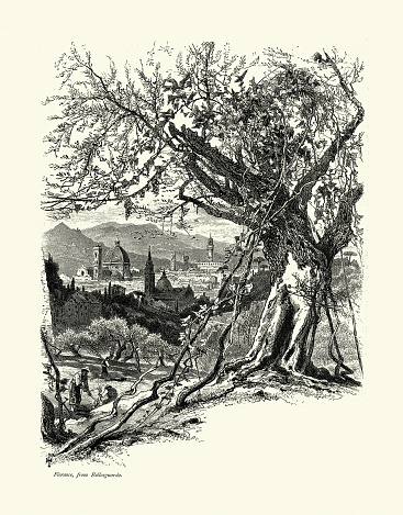 Farmers and Scene of Florence, from Bellosguardo, Italy, 19th Century