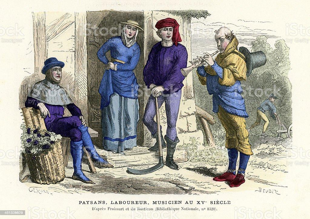 Farmers, labourer, musician in 15th century vector art illustration