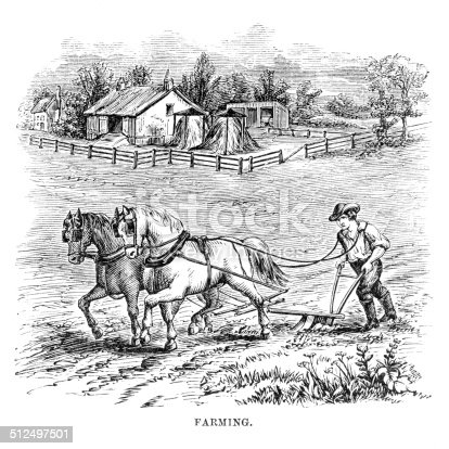 Plowing the land with horses engraving