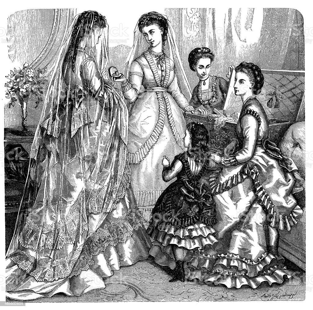 Modische Kleidung Und Frisur Modelle Aus Dem 19 Jahrhundert Stock