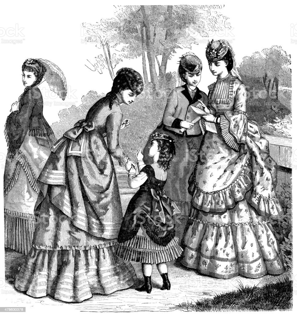 Fashion Clothes And Hairstyle Models From The 1800s Stock
