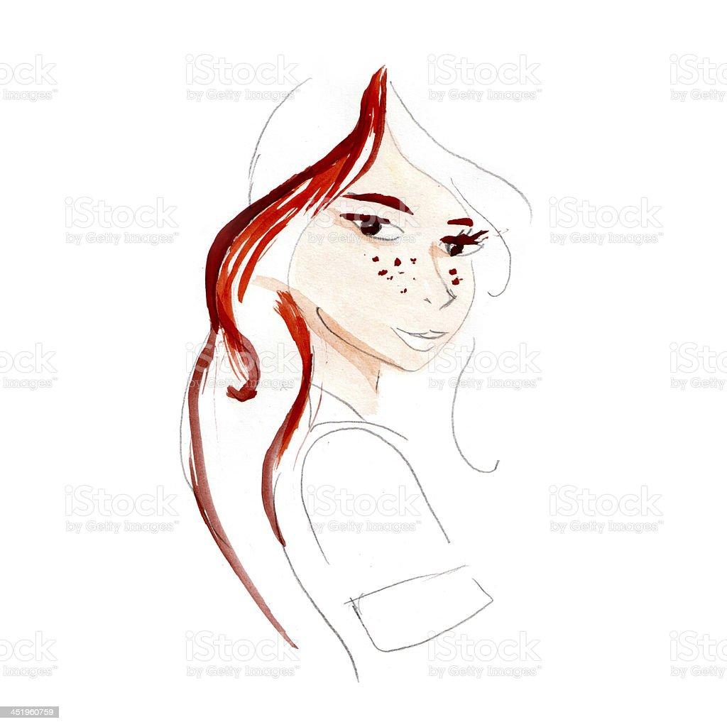 Fashion Design Girl - portrait royalty-free stock vector art
