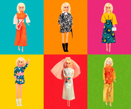 Fashion Doll Wearing Six Different Outfits