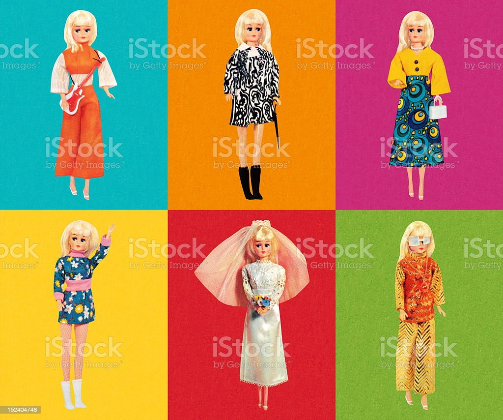 Fashion Doll Wearing Six Different Outfits vector art illustration