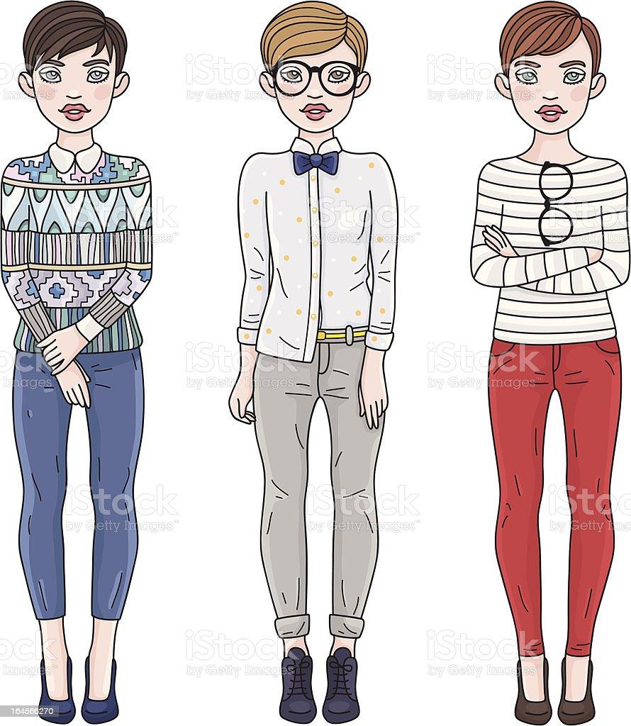 Fashion girls royalty-free stock vector art