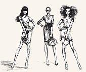 vector illustration. 3 female models. This work - the trace of my original pencil sketch. Artist Tatarnikova Irina.