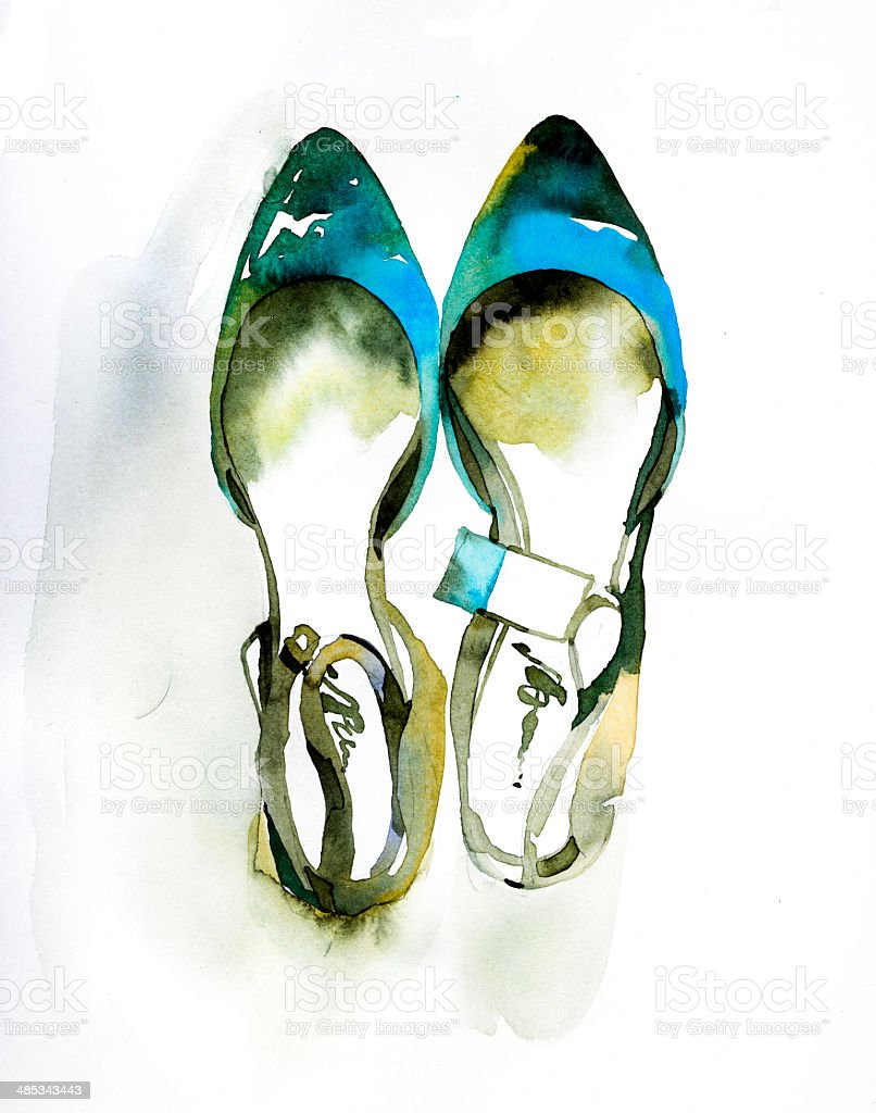 Fashion illustration of painted watercolor shoes royalty-free stock vector art