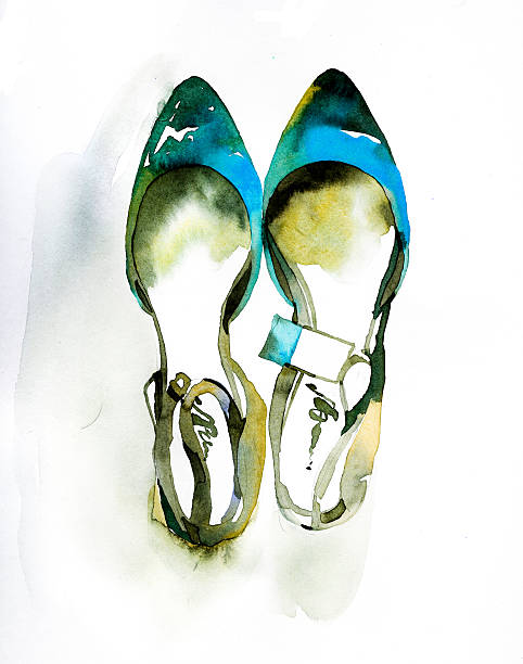 fashion illustration of painted watercolor shoes - shoes fashion stock illustrations, clip art, cartoons, & icons