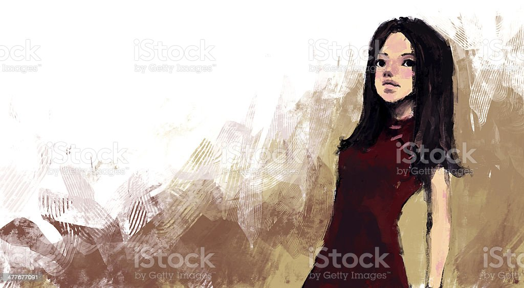 Fashion illustration, Rough painting style royalty-free fashion illustration rough painting style stock vector art & more images of adult