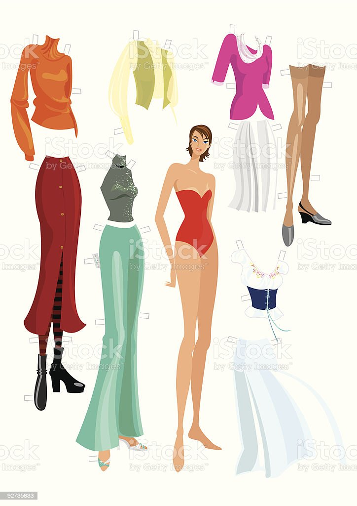 Fashion Paper Doll vector art illustration