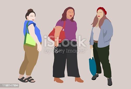 istock Fashion portrait of Plus-sized girls. 1198147994