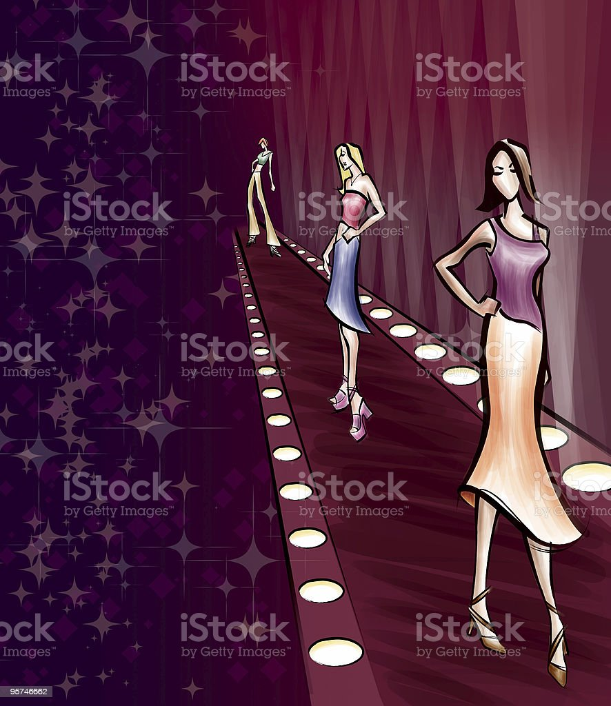Fashion Show Runway with Models vector art illustration