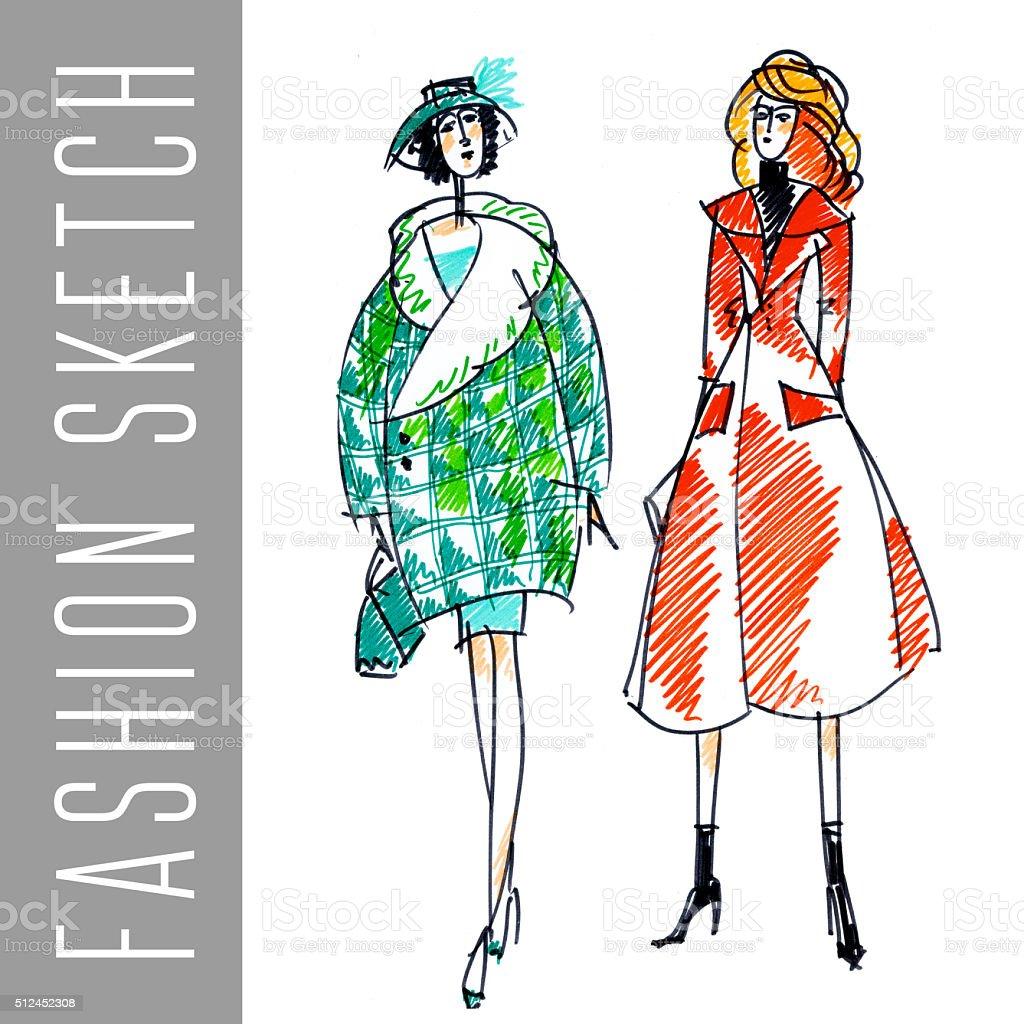 5b27d3d14348 Stile schizzo a mano vettoriale. Vogue ragazza. donne vestiti disegno stile  schizzo a mano