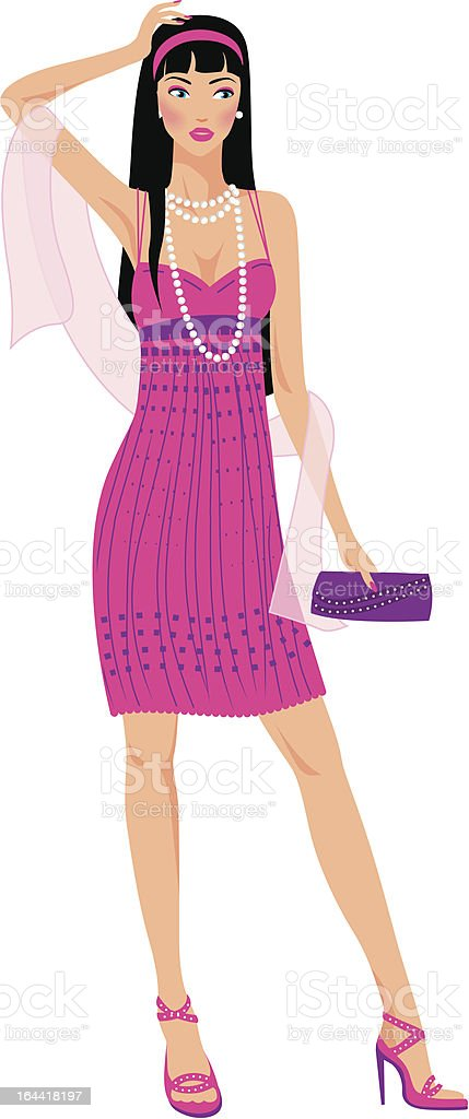 Fashion woman in a pink dress vector art illustration