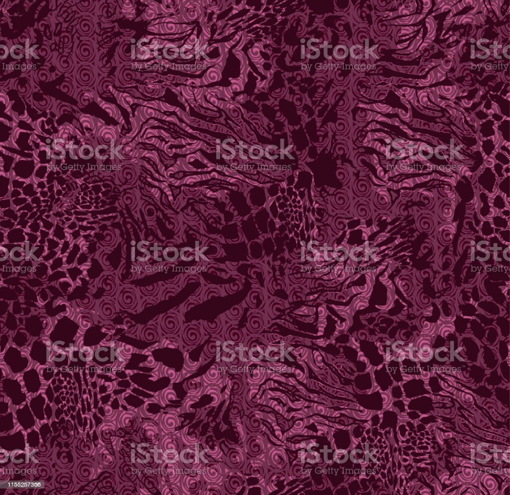 Fashionable animal skin with monograms and curls elements seamless...