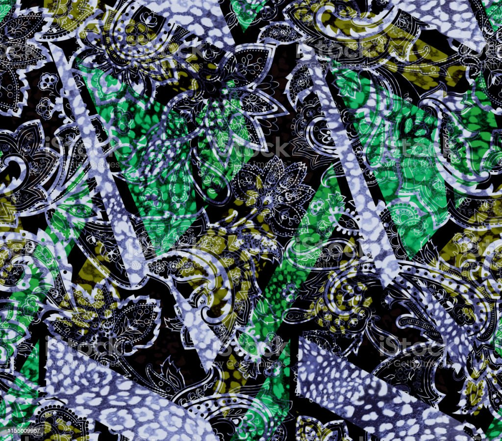 Fashionable animal skin with paisley elements seamless Pattern....