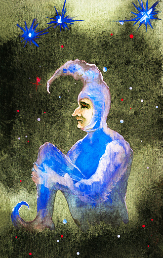 Fashionable illustration allegory artwork impressionism people  painting with watercolors impressionism vertical portrait figure profile romantic Harlequin man in theatrical blue costume headdress  sitting on a cloud and dreaming against the night sky