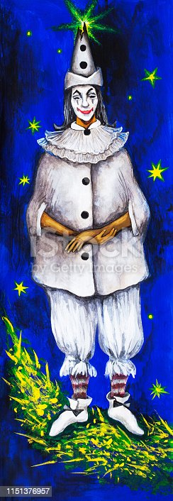 Fashionable illustration allegory modern artwork impressionism painting symbolic composition my original oil painting on canvas vertical portrait figure fairy-tale character crying Pierrot in a black and white theatrical costume with white shoes and white makeup on the background of the bright blue night sky of the moon and shining stars