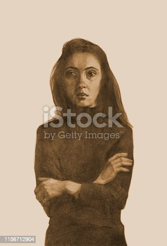 Fashionable illustration allegory modern artwork impressionism people my original drawing sepia pencil on paper impressionism vertical shaped symbolic portrait romantic young tender modest girl with long black hair in a black sweater arms folded on her chest on a light background