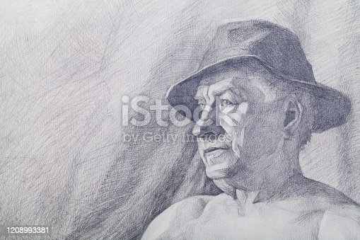 Fashionable illustration allegory modern work of art impressionism my original pencil drawing on paper horizontal symbolic portrait face of an elderly man in a black hat with fields on an abstract background of a gray wall