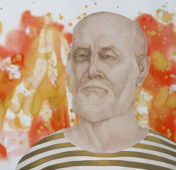 fashionable illustration allegory modern work of art impressionism my original painting with watercolors on paper  drawing with pencil impressionism horizontal shaped symbolic portrait sailor elderly man in a sailor's sailor dress - old man goes pictures stock illustrations, clip art, cartoons, & icons