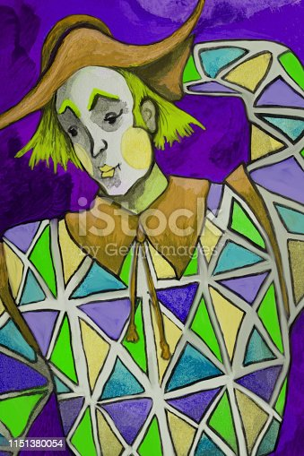 istock Fashionable illustration allegory modern work of art my original painting with watercolors on paper symbolic vertical portrait of a fabulous theatrical character  of Harlequin in a stage costume made of colored rhombuses with theatrical makeup on his face 1151380054