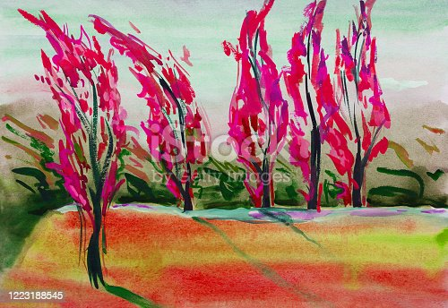 istock Fashionable illustration allegory of autumn modern artwork  original painting with watercolors  horizontal landscape impressionism blushing trees and blushing green lawn sun and wind in the poplars 1223188545