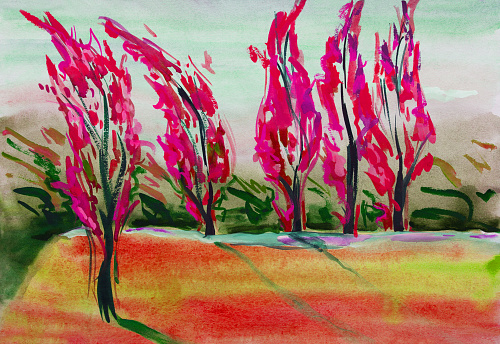 Fashionable illustration allegory of autumn modern artwork my original painting with watercolors on paper horizontal landscape impressionism blushing trees and blushing green lawn sun and wind in the poplars against the bright blue sunny sky