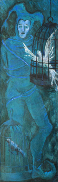 illustrations, cliparts, dessins animés et icônes de allégorie d'illustration à la mode de l'œuvre d'art originale de peinture à l'huile sur le portrait de toile dans le modèle de figure de symbolisme d'un homme chantant dans le costume théâtral d'un bouffon lié par des cordes et des oise - cage animal nuit