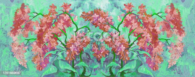 Fashionable illustration allegory of tenderness the original oil painting on canvas impressionism spring horizontal landscape blooming bush of lilac in pinkish tones on the background of trees and bushes in gentle shades of the spring sky green grass of trees and flowering plants in the garden