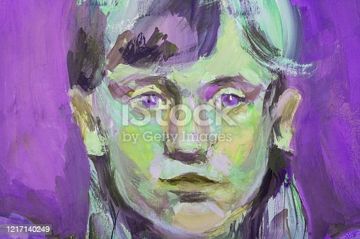 istock Fashionable illustration allegory of tenderness spring modern art impressionism my oil painting on canvas horizontal portrait face look of a little girl with blue eyes with long hair on a purple evening sky background 1217140249