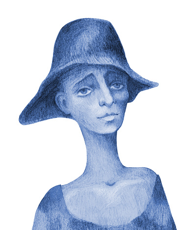Fashionable illustration allegory poverty modern art impressionism blue pencil drawing social problems youth culture vertical portrait in bluish tones child figure  beggar boy in hat isolated on white paper background