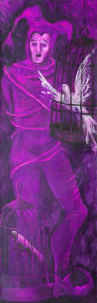 illustrations, cliparts, dessins animés et icônes de illustration à la mode œuvres chantant des travaux originaux d'illustration de peinture à l'huile sur la figure d'impressionnisme de portrait de toile d'un homme chantant dans un bouffon de costume de théâtre attaché avec des oiseaux de corde - cage animal nuit