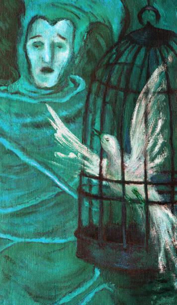 illustrations, cliparts, dessins animés et icônes de allégorie d'art moderne d'illustration à la mode ma peinture originale d'huile sur le bouffon d'impressionnisme de portrait de fantaisie de toile chantant avec un oiseau dans une cage - cage animal nuit