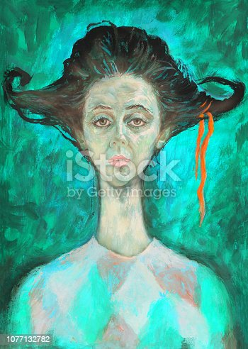 Fashionable illustration modern art work my original oil painting on canvas figurative portrait of a young circus actress acrobat on a bright green background