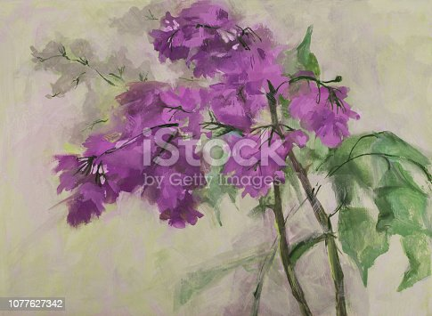 Fashionable illustration modern art work my original oil painting on canvas spring still life blooming purple lilac against the background of glare of sunlight and dim greenery