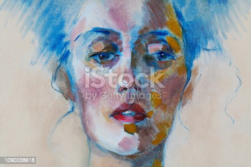 Fashionable illustration modern art work my original oil painting on canvas horizontal portrait of a beautiful woman with long hair in modern stylehairstyle on light background