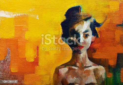 Fashionable illustration modern art work my original oil painting on canvas in impressionism style summer portrait of a girl of oriental appearance with black long hair on a bright orange background
