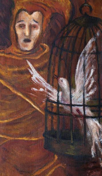 illustrations, cliparts, dessins animés et icônes de l'art moderne à la mode illustration travailler mon original peinture à l'huile sur toile fantaisie portrait impressionnisme bouffon chantant avec un oiseau en cage - cage animal nuit