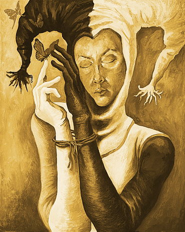 Fashionable illustration modern art work my original oil painting on canvas sepia impromptu fantasy impressionism portrait face figure girl in harlequin costume with hands tied and flying butterflies
